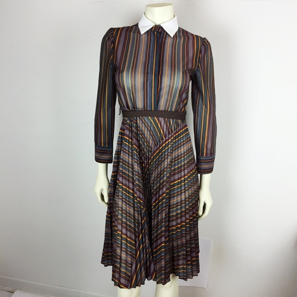 Vintage 70s secretary midi shirt dress stripe swag